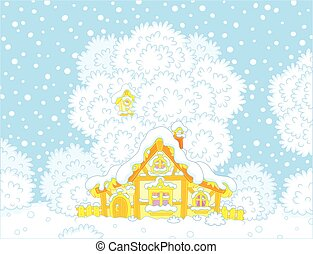Small log hut snow-covered on Christmas