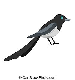 Small magpie icon, flat style