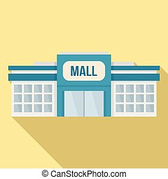 Small mall building icon, flat style