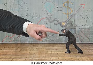 Small man pushing against big man hand