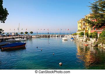 Small marina at Sirmione Lake Garda