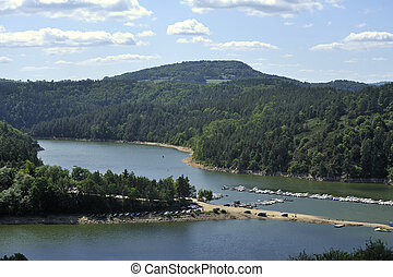 Small marina on a lake in the French region of Auvergne