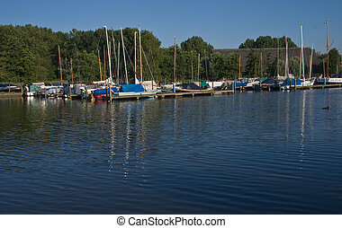Small marina on early morning in June