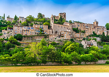 Small medieval town in mountains on a nice summer day, Provence; France