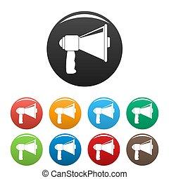 Small megaphone icons set color