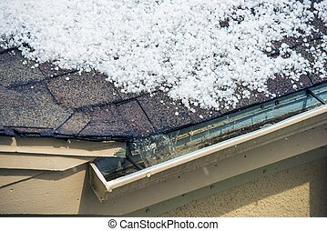 Hail on the Roof - Small Melting Hail on the Roof. Severe...