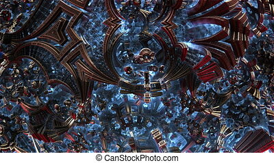 Small metal items 3d fractal of order chaos. Chaotic...