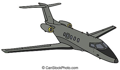Small military jet - Hand drawing of a small gray military ...