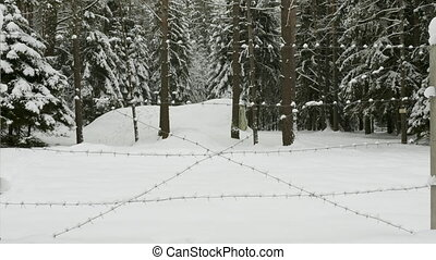 Small military old bunker surrounded by barbed wire in winter forest