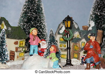Small miniature village, decorated with Christmas