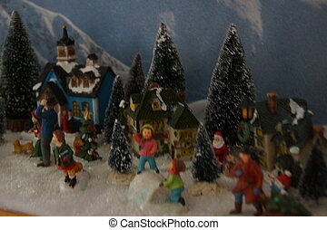 Small miniature village with Christmas decoration
