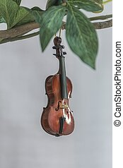 small miniature violin hanging on the branch