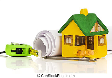 small model house and drawing