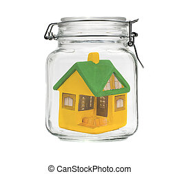 small model house in jar
