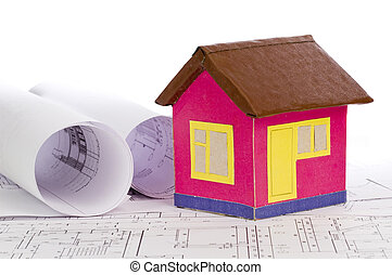 small model house on drawing