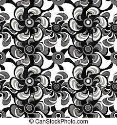 small monochrome abstract flowers seamless pattern