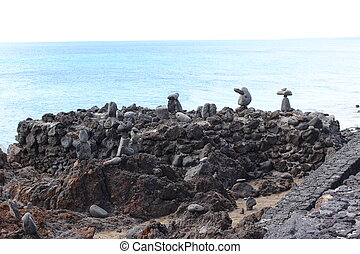 Small monuments on a rocky outcrop