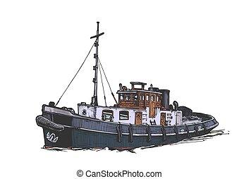 Small motor ship - Vector hand drawn illustration of small ...
