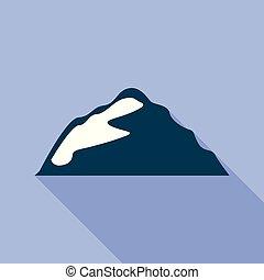 Small mountain icon, flat style