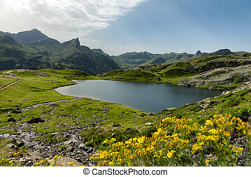 Small mountain lake in the French Pyrenees