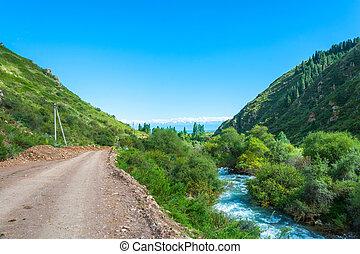 Small mountain river in the Semenov gorge, Kyrgyzstan.