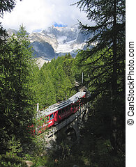 Small mountain train going from Chamonix to the Sea of Ice,...