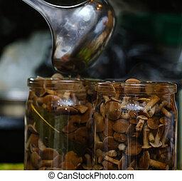 small mushrooms pickled in a jar