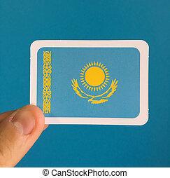Small national flag of Kazakhstan