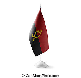 Small national flag of the Angola on a white background