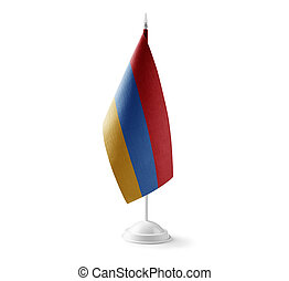 Small national flag of the Armenia on a white background