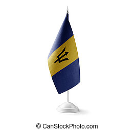 Small national flag of the Barbados on a white background