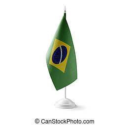 Small national flag of the Brazil on a white background