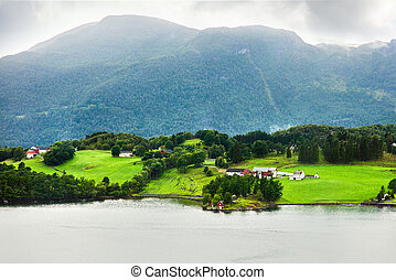 Landscape of a small village in Norway