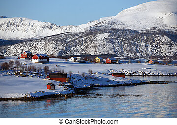 small Norwegian village on the shore of the fjord