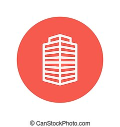 Small office building thin line icon for web and mobile...