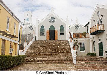 Small Old Catholic Church at top of Brick Steps