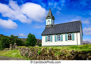 Small old church Pingvallkirkja in Thingvellir, Iceland -...