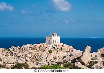 Small Old House near Lighthouse of Capo Testa. Santa Teresa ...