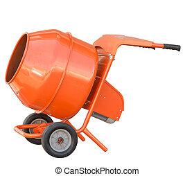 small orange concrete mixer machine