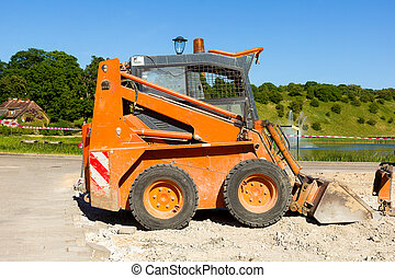 small orange excavator