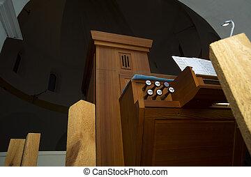 Small organ in church - Modern very small organ in little ...