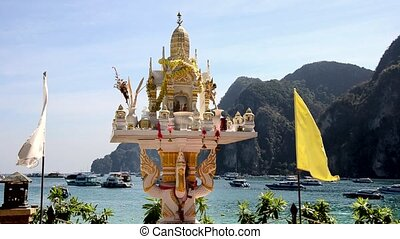 phi phi islands seascape with pagoda. Thailand