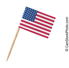 Small paper American flag on wooden stick