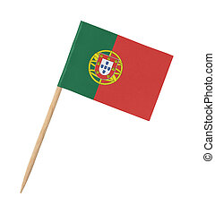Small paper Portugese flag on wooden stick