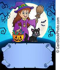Small parchment and cute witch 1