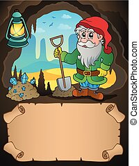 Small parchment and dwarf miner 2 - eps10 vector...