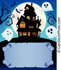 Small parchment and haunted mansion 1 - eps10 vector...