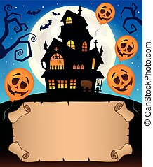 Small parchment and haunted mansion 2 - eps10 vector...