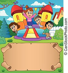 Small parchment and kids playing theme 1 - eps10 vector...
