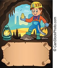 Small parchment and miner with ore - eps10 vector ...